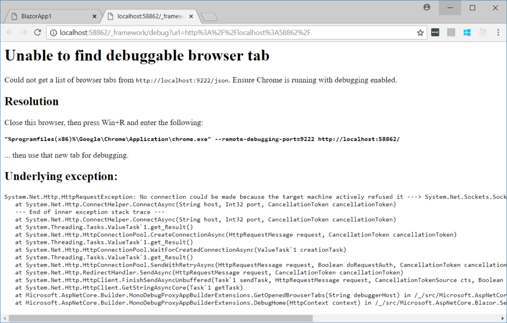 Unable to find debuggable browser tab in Blazor: coderethinked.com